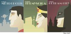 Art deco superhero posters