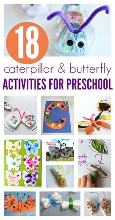 Butterfly crafts, caterpillar crafts and books about both for preschool and kindergarten! Great summer crafts.
