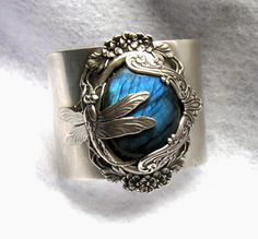 Blue Flash Labradorite Dragonfly Enchanting Cuff by VsPDesigns, $125.00