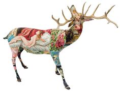 Frederique Morrel is a talented French designer who creates beautifully unique tapestry on deer sculptures! She uses polyurethane taxidermy molds, covers them in vintage needlework and then finishes them all off with real antlers. Morrel was moved to create these after she found out that her deceased grandmothers's needlepoint was accidentally thrown away. This led to the launch of a line of products based solely on vintage and recycled material. Upon close examination, you'll notice a story…