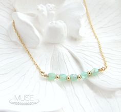 Seafoam and Gold Tiny Beaded Necklace Dainty Gold by MuseByLAM