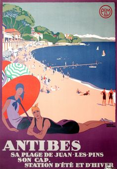 Vintage Travel Poster Print Wall Art Print entitled Antibes, Sa Plage de Juan Les Pins, Vintage Poster,by Roger Broders, None - Art Deco Posters, Vintage Travel Posters, Cool Posters, Vintage Ads, Vintage Prints, French Vintage, French Art, Vintage Designs, A4 Poster