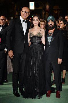 "Dakota Johnson arriving with  Alessandro Michele and Marco Bizzarri for Green Carpet Fashion Awards on Sep 24,2017 (: ""50ShadesWorldcm / Twitter )"