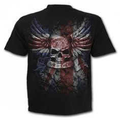 Spiral Direct, the Original. This awesome rock like skull emblazoned with the flag of the UK is sure to give any lost soul some sense of belonging Uk Flag, Lost Soul, Gothic Outfits, T Shirt, Spiral, Mens Tops, Gothic Clothing, Rock, Dyes