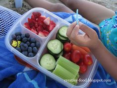 BEACH HACK: Pack finger snacks for easy Snacks on the Beach! Use divided BPA free snack containers & make them up the night before so they chill nicely all night and will keep cold and refreshing for beach time!!