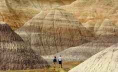 Petrified Forest, AZ Hikers on the Blue Mesa Trail