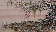 Watercolor Tree Painting White Deathcap Mushrooms Moss Fungus Tree Root Nature…