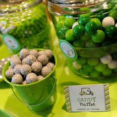 """For her son Lawson's first birthday, crafty mama Melissa went all-out with a green and white golf party! Every last detail is preppy and sweet, from Lawson's party outfits to the little chocolate golf balls in the """"caddy buffet""""! There's no mistaking what theme this ..."""