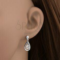 925 ezüst fülbevaló, függő csepp körvonal, áttetsző csiszolt cirkónia Diamond Earrings, Jewelry, Jewlery, Jewerly, Schmuck, Jewels, Jewelery, Diamond Drop Earrings, Fine Jewelry