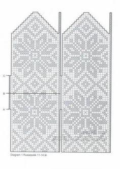 узор для варежек 0018 Knitted Mittens Pattern, Knit Mittens, Knitted Gloves, Knitting Socks, Knitting Charts, Knitting Stitches, Knitting Patterns, Crochet Chart, Filet Crochet