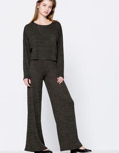 Pantalón ancho canalé - Pantalones - Ropa - Mujer - PULL&BEAR México