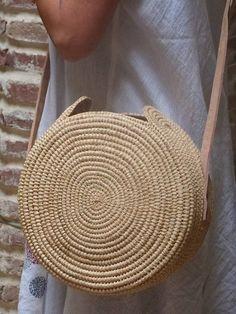 borsa di paglia circolare borsa in rafia estate borsa tote