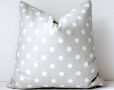 "Ikat polka dots Modern Decorative Designer Pillow Cover 18"" light smoke Grey Accent Cushion fog spot dot Fall natural gray holiday snow"