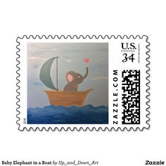 Baby Elephant in a Boat Stamp