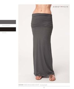 Stretch Slub Long Skirt