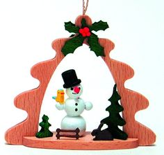 Snowman German Wood Christmas Tree Ornament Holiday Decoration New Made Germany