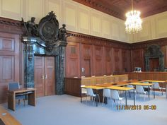 Courtroom inside the Palace of Justice where the German war criminals were tried by the International Military Tribunal, Nuremburg, Germany.