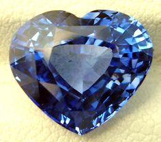 Faceted Heart Cut Blue Sapphire Ceylon Sri Lanka