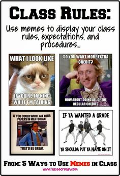 This would be fantastic for a high school classroom! Back to school: Use memes for your class rules and expectations. Teacher Tools, Teacher Resources, Teacher Stuff, Classroom Memes, Classroom Ideas, Classroom Rules High School, Funny Classroom Posters, English Classroom Decor, Classroom Procedures