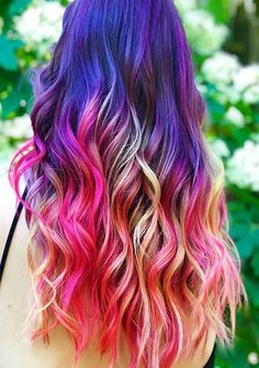 Cute And Awesome Rainbow Hair Color Ideas 2019 Vivid Hair Color, Latest Hair Color, Hair Colors, Unique Hairstyles, Messy Hairstyles, Cool Haircuts For Girls, Coloured Hair, Rainbow Hair, Trendy Hair