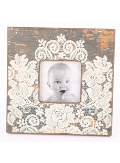 Wood Photo Frame With Lace Pattern @ rosefields.co.uk