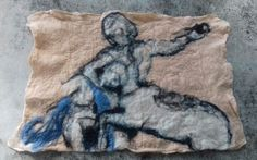 A felted two dimensional version inspired from a masterpiece. See: Parthenon -centauromachy metope