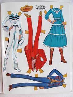 Western Barbie Paper Doll Uncut Golden Vintage 1982 by lindapaloma