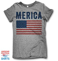 Merica This awesome design is printed right here in the USA on a classic fitting, ultra-soft Tri Blend T Shirt. + Each shirt is printed to order in the USA and