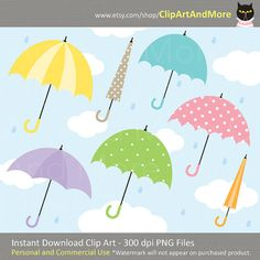 """Umbrellas in a variety of pastel colors and polka dot pattern plus sky, cloud and rain background / digital paper. This is INSTANT DIGITAL DOWNLOAD product.  Set includes 19 files of: - 18 umbrellas - 1 sky, cloud and rain background  YOU WILL RECEIVE: - 19 PNG files with transparent background (Each clip art saved separately and compressed together in a zip folder.)  PRODUCT DETAILS: - Files are high resolution (300 dpi). - Each clip art is approximately 8"""" at its tallest or widest poin..."""