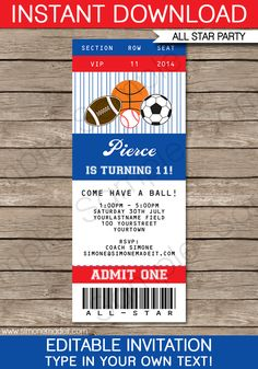 All Star Sports Ticket Invitations Template | Birthday party | Football Basketball Baseball Soccer | Editable DIY Theme Template | INSTANT DOWNLOAD $7.50 via SIMONEmadeit.com