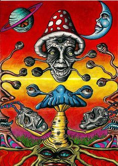 Shroomz by Acid-Flo on DeviantArt Acid Trip Art, Acid Art, Trippy Drawings, Art Drawings, Psychedelic Art, Trippy Painting, Stoner Art, Psy Art, Mushroom Art