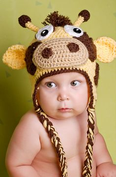 Gary the Giraffe Hat- free pattern- all sizes