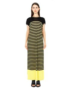 MARIOS LONG STRIPED DRESS S/S 2016 Long striped dress yellow and black variant round neckline short sleeves  long in front short in back 84% VI 16% PA
