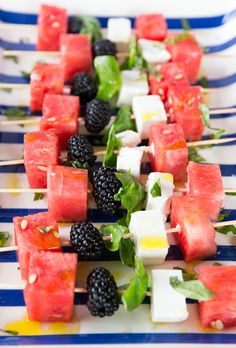 Watermelon, Basil, Blackberry and Feta Skewers