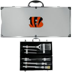 Cincinnati Bengals 8 pc Stainless Steel BBQ Set w/Metal Case