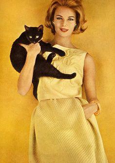 Anne De Zogheb, Vogue January 1962, photo Karen Radkai 60s yellow sheath wiggle dress pleats color photo print ad model magazine designer