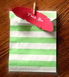 Feather Favor Tag Peter Pan Red Feather by worldwideparty, $7.00