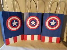 Avenger Superhero party favor bags 1 dozen by PartiesByDezzy Captain America Birthday Cake, Captain America Party, Valentines Day Bags, Superhero Party Favors, First Superhero, Wonder Woman Birthday, Twins 1st Birthdays, Party Favor Bags, Favor Boxes
