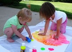 Finger and Foot Painting, a great way to learn about colors!