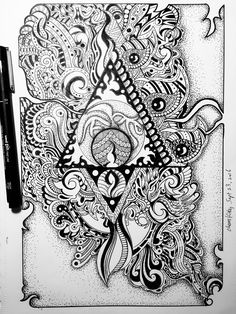 Imagination fly.  Pen drawing zentangle.