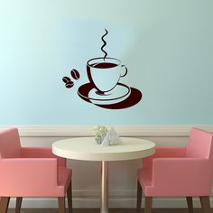 Cup of Coffee Smoke Housewares Wall Vinyl Decal Art Murals Design Interior Modern Cafe Dining Room Kitchen Coffee Shop Decor Sticker SV3989