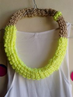 chunky tube necklace in neon yellow and brown by MerakibyStevie, $22.00