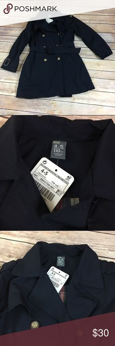 NEW NWT Zara Girls Navy Trench Coat Belted 4/5 NEW NWT Zara Girls Navy Trench Coat Belted 4/5  Beautiful coat.  Lined in plaid, belted.  Lots of buttons.  Looks to run on the big side of 4/5.  #new #nwt #trench #trenchcoat #navy #coat #jacket #preppy #dressup #classy #classic #beltedtrench Zara Jackets & Coats