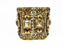Czech Enamel Bracelet Antique Jewelry Jeweled Bracelet