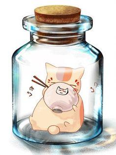 Nyanko-sensei from Natsume Yuujinchou Anime Chat, Manga Anime, Natsume Takashi, Hotarubi No Mori, Jar Art, Kawaii Doodles, Natsume Yuujinchou, Cute Chibi, Cute Illustration