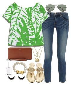 """DAY THREE// OUT TO EAT"" by ellie-prep ❤ liked on Polyvore featuring Bling Jewelry, rag & bone, Lilly Pulitzer, Tory Burch, FOSSIL, Kate Spade, Essie, Ray-Ban and aweekatthebeachcontest"