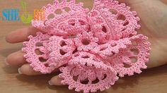 3D Five Folded Petal Flower to Crochet Tutorial 63 Part 2 of 2 Crochet B...