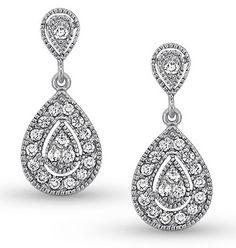KC DESIGNS DIAMOND ANTIQUE STYLE EARRINGS IN 14K WHITE GOLD WITH 36 DIAMONDS #wedding #bride #earrings #diamond #diamondearrings #kcdesigns #woodrowjewelers