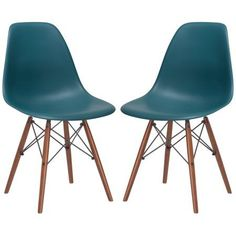Poly and Bark Vortex Side Chair Walnut Legs in Teal (Set of 2)
