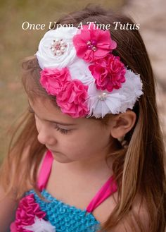 Hot Pink Couture Satin & Shabby Flower by OnceUponATimeTuTus